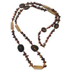 Long Hand Crafted Agate Slice, Banded Red Carnelian, Black/Brown Pebble Bead Necklace