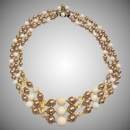 Lucite Champagne Pearl and Ivory Molded Bead Triple Strand Necklace Signed Japan