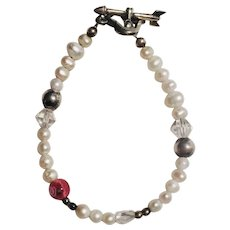Freshwater Pearl Swarovski Crystal Glass Bead Sterling Silver Child's Flower Girl Bracelet