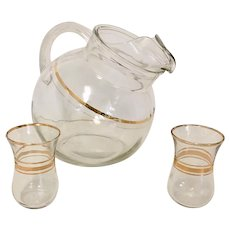 Anchor Hocking 3 Piece Set Glass Tilt Ball Pitcher with Ice Lip Gold Bands & 2 Glasses
