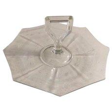 Depression Era Etched Glass Octagon with Handle Tidbit Dessert Sandwich Tray