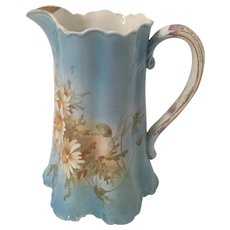 19th Century Harker Pottery Semi-Porcelain Transferware Pitcher Gold Accent