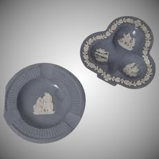 Vintage Wedgwood  Jasperware Blue Ashtray Pair 3 Leaf Clover and Round