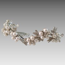 Delicate Floral Vine Bridal Hair Tiara with Faux White Pearls Crystals Silver Plate