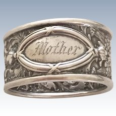 """Victorian Repousse Sterling Silver Napkin Ring Inscribed """"Mother"""" Hallmarked UB Sterling"""