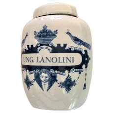 Delft Apothecary Jar Ung Lanolini in Blue and White