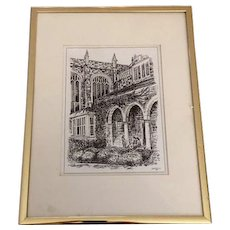 University of Michigan  Architectural Pen and Ink by Bill Shurtliff,  20th Century Michigan Artist and Printmaker