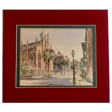 Church Street Scene Lithograph by Julia Homer Wilson, Pastel Lithograph, Signed 1950's