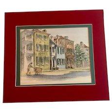Tradd Street Lithograph by Julia Homer Wilson, Charleston South Carolina 1950's