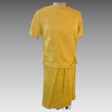 Bright Yellow Linen 2 Piece Summer Dress with Pencil Skirt circa 1950's