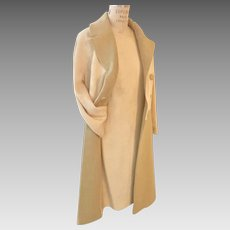 Fabulous Spring Linen Sheath and Coat Ensemble  in Ivory and Beige, 1950's