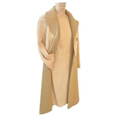 Fabulous Spring/Summer Linen Sheath and Coat Ensemble  in Ivory and Beige, 1950's