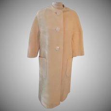 Mid Century Cream 3/4 Sleeve Lined Wool Lady's Collarless Coat