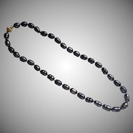 Large Baroque Peacock Pearl Necklace with 14 Karat Ball Clasp