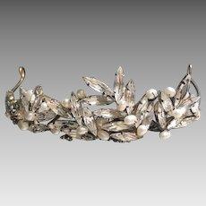 Vintage Petite Freshwater Pearl and Swarovski Crystal Navette Silver Plate Tiara