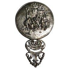 Repousse Beveled Purse Mirror by Hans Jensen Silver Plate, Denmark 1940's