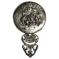 Repousse Beveled Purse Mirror by Hans Jensen Silver Plate, Denmark 1940's
