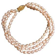 Pink Cultured Fresh Water Rice Pearl Triple Strand Bracelet