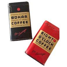 Pair of Vintage Coffee Tin Banks Eight O'Clock Coffee / Bokor Coffee  A & P