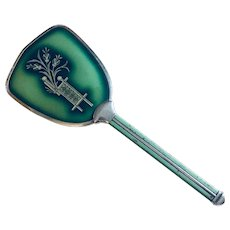 Art Decor Guilloche'  Green Enamel Hand Mirror