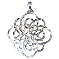 Beautiful Cut Work Sterling Silver Woven Lace Inspired  Large Pendant