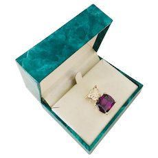 Sterling Silver Amethyst (simulated) Cubic Zirconia Pendant  925