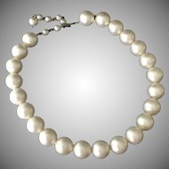 Fabulous Faux 11mm Hand Knotted Simulated Pearl Necklace with adjustable clasp. 1960's