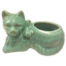Vintage McCoy USA Pottery Cat Planter Turquoise, 1930's