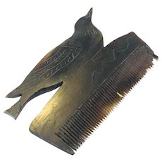 Hand Carved Bakelite/Bone Hair Comb with Bird,