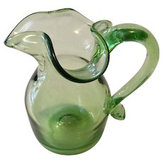 Blenko Vintage Green Pitcher with Pinched Ice Cube Spout Curled Handle 1950's