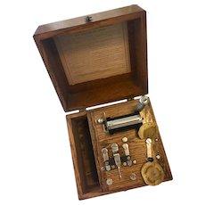 Victorian  Medical Apparatus Electroshock Therapy Quarter-Sawn Oak Case