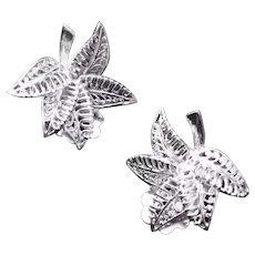 Vintage Sterling German Filigree Leaf Clip Earrings