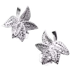 Vintage Sterling German Filigree Leaf Clip Earrings