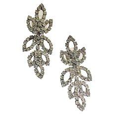 Rhinestone Open Leaves Drop Pierced Earrings Vintage 1970s