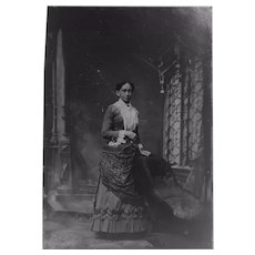 Victorian Tin Type Portrait of a Lady Elaborate Backdrop