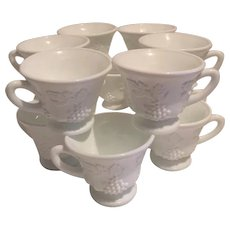 Westmoreland Set of 12 White Milk Glass Grape Paneled Cups