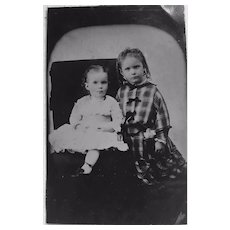 Tin Type Victorian Formal Photograph of Young Children