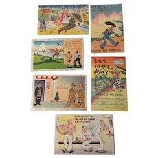 World War 2 Set of 8 Vintage Humorous US Navy Postcards