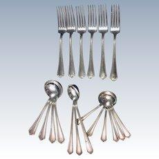 Branford Silver Plate Vintage Gem by International Silver Backstamp Lot 19 pc