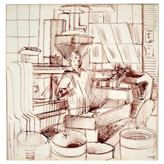 Edith Kramer, Art Therapy Founder: Ink Drawing on Paper, 1947. Signed, Dated