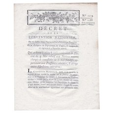 French National Convention Decree 1273. July 27, 1793, Signed