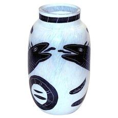 Ulrica Hydman-Vallien : Caramba. Art Glass Vase, 1980. Hand Made & Painted, Signed