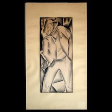 """Irving Resnikoff: Drawing on paper. Matted, c.1930s. 11""""X4.75"""", matt 15.5""""X9""""."""