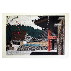 Kiyoshi Saito (Japanese, 1907-1997): Temple, Sosaku Hanga Woodblock Print, C.1960.