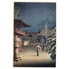 Tsuchiya Koitsu (1870-1949): Snow at Nezu Shrine. 1934, Shin Hanga Woodblock Print