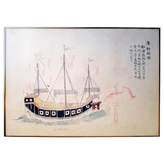 Tang Dynasty Navy Ship Ink Drawing, c.1800s