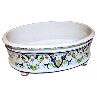 Faience Nevers Oval Jardinière Decorated with Floral Motifs
