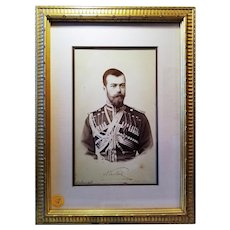 Russian Czar Nicholas II Inscribed Photogravure Portrait in Cossack. 1896 Balmoral, Scotland