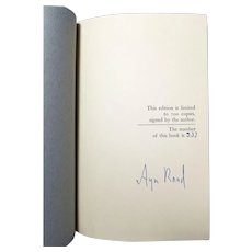 Ayn Rand Signed Limited Edition 337 of 700: Capitalism: The Unknown Ideal