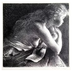 Raphael Soyer: Nude at the Window c.1937 Signed Litho